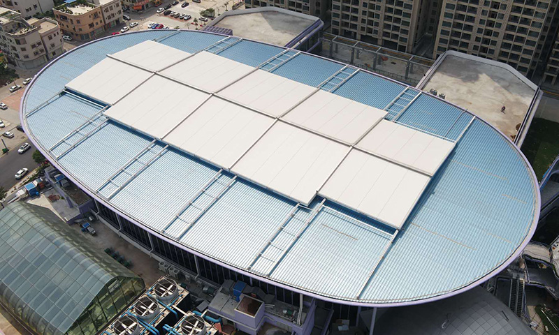 Aerial Video of Retractable roof Structure for Zhongshan HuiFeng Shopping Mall